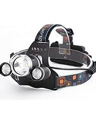 Qprods - Lampe frontal 5000 Lumens + batteries rechargeables + Chargeur. Technologie XPE.. Résistant à l'eau. 100.000 heures. Garantie 1 an