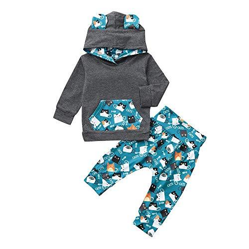 Mbby tuta neonato bambino animali, 3-24 mesi completo ragazza e ragazzi 2 pezzi tute in cotone invernale autunno maglietta + pantaloni stampe gatti set caldo manica lunga leggera antivento