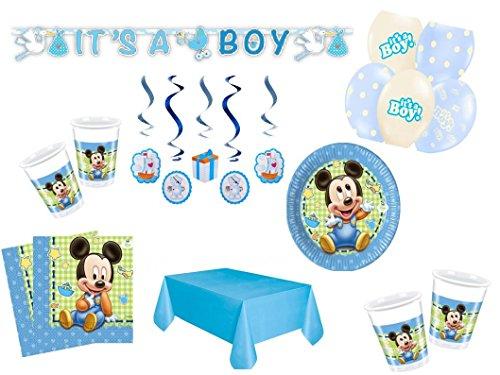 Partydekoset Babyparty Baby Shower Mickey Baby Junge blau für 8 Personen 49teilig Pullerparty Baby Geburt Babyparty Komplettset Tischdeko Party Geschirr