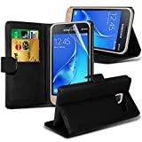 Samsung galaxy J7 2016 case( Black ) Cover for Samsung galaxy J7 2016 Case Durable Book Style PU Leather Wallet Elegant Classic Flip cover Case Skin Cover+ LCD Screen Protector Guard, Polishing Cloth Samsung galaxy J7 2016 + FREE SCREEN PROTECTOR FILM By i-Tronixs®