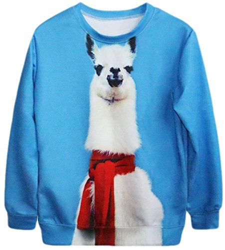 Lewi Brun - Sweater Shirt mit Lama mit rotem Schal, Größe One Size, Blau (Asos-tier)
