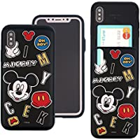 iPhone X Case DISNEY Cute Slim Slider Cover : Card Slot Shock Absorption Shockproof Dual Layer Protective Holder Bumper for [ iPhone X ] Case - Icon Mickey Mouse