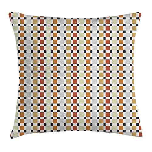 WITHY Retro Throw Pillow Cushion Cover, Checkered Business Elegance Theme Rhombus Cubical Different Pastel Colors, Decorative Square Accent Pillow Case, 18 X 18 Inches, Red Amber Beige Orange -
