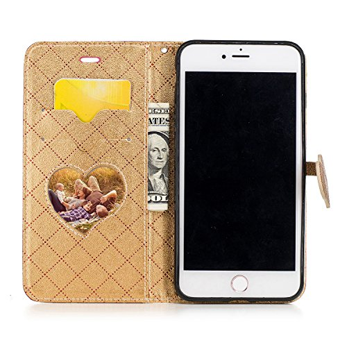 Custodia iPhone 7 Plus, iPhone 7 Plus Cover, ikasus® iPhone 7 Plus Custodia Cover Colpire il colore [PU Leather] [Shock-Absorption] Chiusura magnetica a forma di cuore Protettiva Portafoglio Cover Cus Rosso