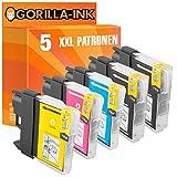 Gorilla-Ink® 5x Druckerpatronen XXL kompatibel für Brother LC980 MFC-250 C MFC-290 C MFC-295 CN MFC-290 Series MFC-297 C