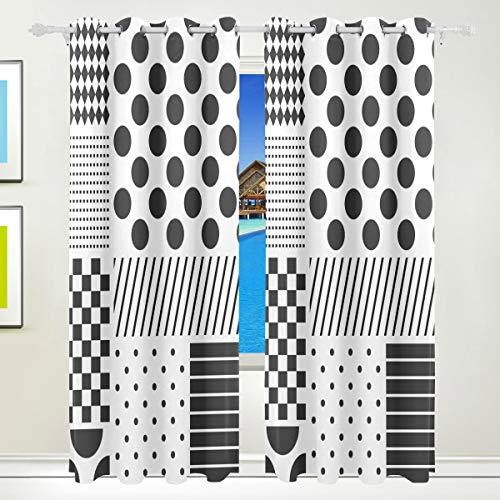 XiangHeFu Schöne Einrichtung Verdunklungsvorhänge mit Tülle Top Polka Dots Patchwork schwarz weiß Vorhänge Set von 2Platten, je 55W x 84L Zoll für Home Wohnzimmer Schlafzimmer Büro (Schwarzen Polka-dot-platten Weißen Und)