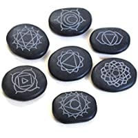 Reiki heilende Energie geladen Krystal Gifts UK Kristall Schwarz Achat Gravur Sanskrit Massage Stone Set (Wunderschön... preisvergleich bei billige-tabletten.eu