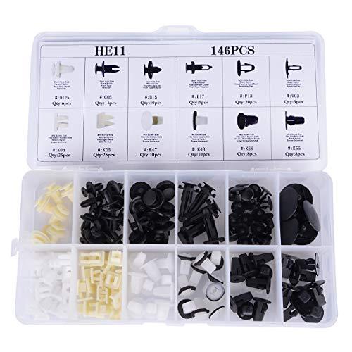 240pcs Assortiment 12 Tailles Rivet Clips Keenso Kit de Retenue Joint de Panneau de Porte Voiture Coupe Pare-chocs en Plastique HE08 Rivets Fixation