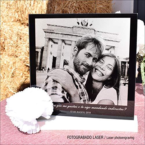 L9 Singular  Fotografía Personalizada sobre Cristal Grabada con Laser. Modelo con Mensaje Incluye Foto y dedicatoria impresionar a tu Pareja