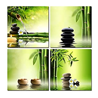 Wieco Art Modern 4 Panels Stretched and Framed Contemporary Zen Giclee Canvas Prints Perfect Bamboo Green Pictures Paintings on Canvas Wall Art for Home Office Decorations Living Room Bedroom