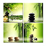 Wieco Art - Modern 4 Panels Stretched and Framed Contemporary Zen Giclee Canvas Prints Perfect Bamboo Green Pictures Paintings on Canvas Wall Art for Home Office Decorations Living Room Bedroom - Wieco Art - amazon.co.uk