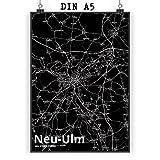 Mr. & Mrs. Panda Poster DIN A5 Stadt Neu-ULM Stadt Black -