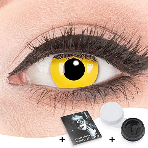 Farbige Kontaktlinsen gelb zu Fasching Karneval Halloween 1 Paar gelbe Crazy Fun 'Yellow' kontaktlinsen mit Behälter - Topqualität von 'Glamlens' mit Stärke -2,00