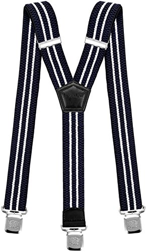 Hosenträger für Herren breit surcharge starken 4 cm mit 3er Clips Y-Form lange für Männer und Damen Hose alle Farben (Marineblau Weiß)