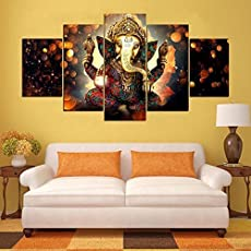 Printelligent Ganesha Split Painting Used As Wall Decor, Paintings, Dimensions 10,20-Inch, 5 Frames