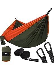 SONGMICS Hamaca Ultra Ligera para Viaje y Camping, Nylon transpirable, 300kg de Capacidad de Carga, 275 x 140 cm, 2 x Mosquetones Premium, 2 x Correas de Nylon Incluidas, 1-2 Personas GDC14AO