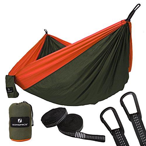 SONGMICS Hamaca Ultra Ligera para Viaje y Camping, 300kg de Capacidad de Carga, 275 x 140 cm, 2 x Mosquetones Premium, 2 x Correas de Nylon Incluidas,1-2 Personas GDC14AO