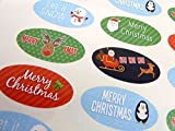 Pack of 48 Merry, Happy Christmas Oval Stickers, Colourful Envelope Seals Labels for Cards, Festive Craft and Decoration