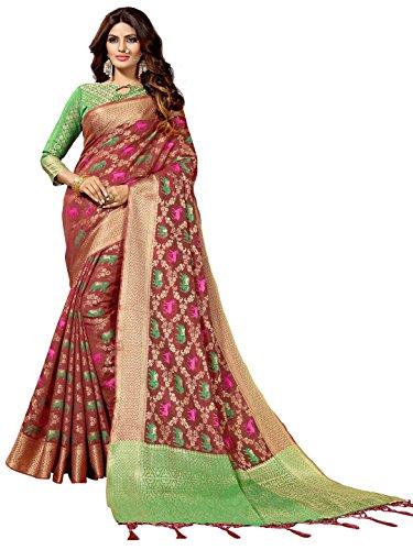 SOURBH Women's Art Silk Woven Patola Saree (6835_Red)