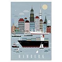 Kunstdruck Poster | Hamburg City | A3 und 50 x 70 cm (ungerahmt) | Maritim, Illustration, Schiff, Hamburg, Michel, Cap San Diego, Vintage, grau, XXL