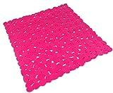 Rosa brillante PVC DURABLE fácil limpiar ducha estera segura 51 x 53 c..