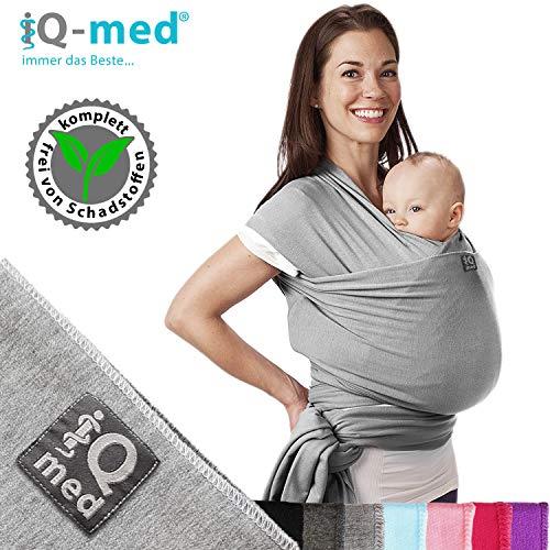 iQ-med Babytragetuch | für Neugeborene, bis 15 kg | BIO | atmungsaktiv | + Anleitung (Hellblau)