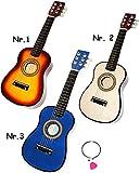 hochwertige Kinder _ Holz Gitarre -  Konzertgitarre - Klassik - hell BRAUN / Natur  - akustische - Kindergitarre - mit 6 Stück Ersatzsaiten & Plektrum - 6 S..