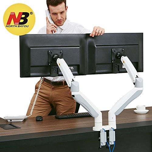 """NB North Bayou F195A 22"""" - 32"""" Monitorhalterung Professionell Bildschirmhalterung Stabile Monitor Tischhalterung Monitor Arm Frei Drehbar 360° mit Zwei USB (F195A Dual Weiß 22"""" - 32"""")"""