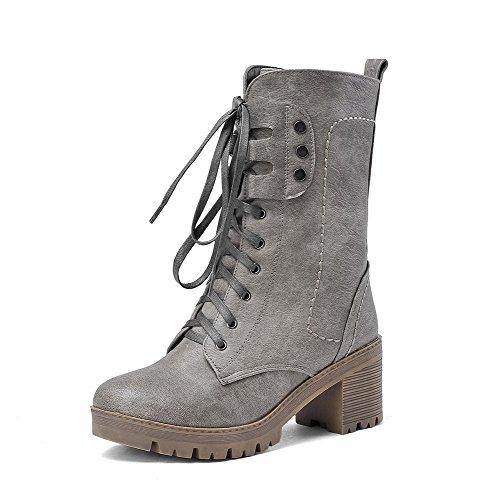 AllhqFashion Damen Mittler Absatz Blend-Materialien Mittler Kalb Rein Schnüren Stiefel Grau