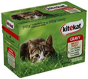Kitekat Gravy Meatfeast 12 x 100 g (Pack of 4, Total 48 Pouches) from Mars Petcare Uk