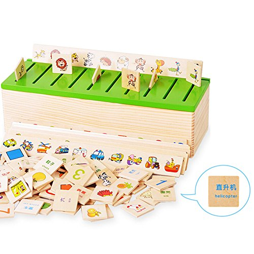 Highdas Niños de Madera clasificación caja con tapa de clasificación, Montessori para niños de Aprendizaje Temprano de Clasificación de inglés y entrenamiento del juguete educativo chino