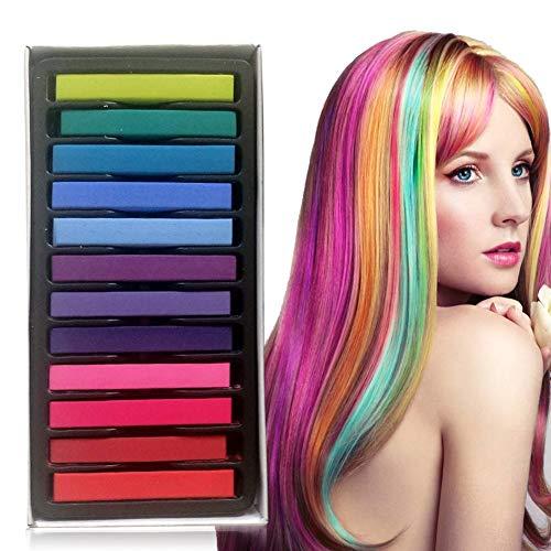 Haarkreide,12 Farben Color Haarfarbe Stick,Haar Colorationen,Haarkreide kinder,Temporäre Haarfarbe Set für Kinder & Teenager,Waschbar und ungiftig,Ideal für Halloween,Fasching, Partys, Festivals