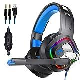 Pretty-jin Gaming Headset Headset Surround Stereo Headset Mikrofon zur Geräuschreduzierung LED Lichter und Soft Memory Ohrenschützer für Xbox One, PS4, Nintendo Switch und PC Mac Spiele