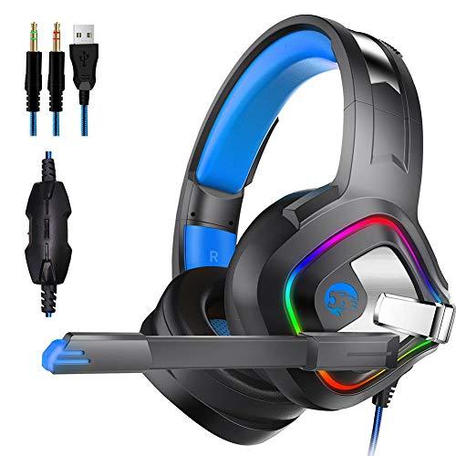 Gaming Kopfhörer Surround-Sound-Kopfhörer mit Mikrofon mit Rumore Rauschunterdrückung, LED-Lichter, weicher Speicher-Headset für Xbox One, PS4, Nintendo Switch, PC Mac Computer Games