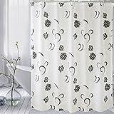 HM&DX Wasserdichter peva duschvorhang mit haken florale form mehltau resistente dekorative bad vorhänge -Weiß 200x240cm(79x94inch)