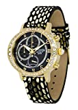 Moog Paris Morning Fit Damen Uhr mit Schwarz Zifferblatt, Swarovski Elements & Schwarz und Gold Armband aus Echtem Leder - M44852-005