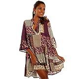 YC Fashion & Style Damen Tunika Kleid mit Patchwork Muster Boho Look Partykleid Freizeit Minikleid oder Strandkleid HP219 Made in Italy