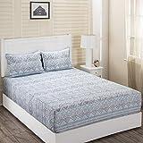 Maspar Superfine Cotton 210 TC Blue Double Bedsheet with 2 Pillow Covers