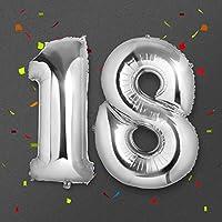 Ballon 18 ans Géant, Meersee 40 inch Ballons d'hélium Foil NO.18 XXL Argent Ballon Chiffre pour Anniversaire de Mariage Anniversaire Décoration