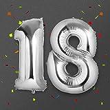 Ballon Zahl 18 Silber, Meersee 40 Zoll Helium Folie Ballons 18 Geburtstag Deko Set Riesen Folienballon Fur Party