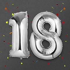 Idea Regalo - Palloncino 18 Anni Gigante, Meersee Palloncino Numero Pallone ad Elio Palloncino Decorazione di Compleanno 40 pollici in Argento Numero 18