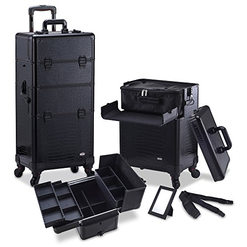 MUA LIMITED Professional Rolling 2 in 1 Makeup Beauty Trolley with Extra Lid, Makeup Artist Case with 4 Detatchable Spinner Wheels, Customizable Cosmetic Storage Organiser in Aluminium Finish, Black Gator