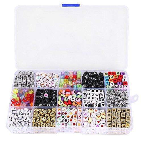 Museya Una scatola di 1100pcs miscelati acrilico alfabeto lettere perline cubo Charms per bracciali Bands telaio fai da te