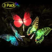 TekHome Solar Lights Outdoor, 3 Pack Solar Powered Garden Lights Decorative Colour Changing, Garden Yard Butterfly Stakes Decorations Ornaments Outdoor, Spring Housewarming Garden Gifts for Women.