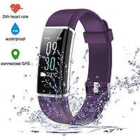 Fitness Armband Farbbildschirm, IP68 Wasserdicht Fitness Tracker mit Pulsmesser Aktivitätstracker mit 14 Trainingsmodi Wetteranzeige Schlafmonitor Vibrationsalarm Anruf SMS Whatsapp Beachten Bildschirm Helligkeit Einstellbar kompatibel für Damen/Herren mit iPhone Android (Violett)