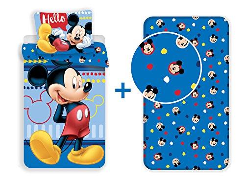 LesAccessoires Mickey–Juego de Cama de 3Piezas (100% algodón–Funda de edredón + Funda de Almohada + sábana Bajera Ajustable