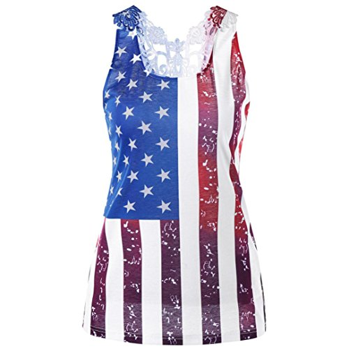 QUINTRA Frauen Spitze Sleeveless American Flag Tank Tops Casual Bluse T-Shirt