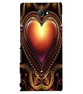 ColourCraft Love Heart Design Back Case Cover for SONY XPERIA M2