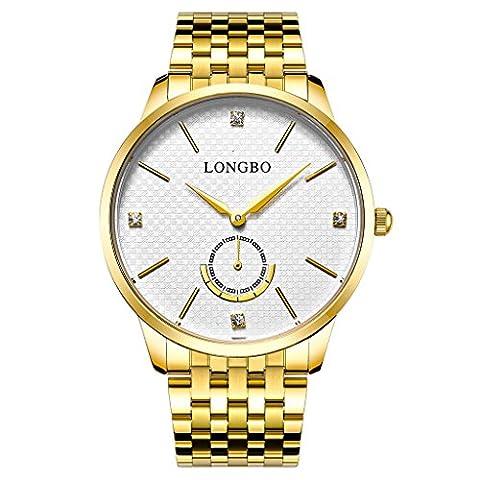 Longbo Luxe pour homme Doré Bracelet en acier inoxydable Quartz