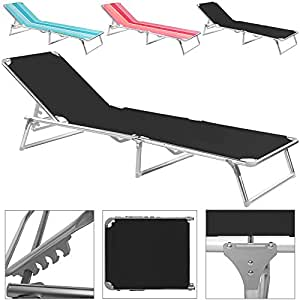 alu liege sonnenliege gartenliege relaxliege strandliege dreibeinliege klappbar schwarz. Black Bedroom Furniture Sets. Home Design Ideas